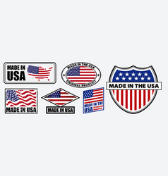 Set made in usa label for retail product vector