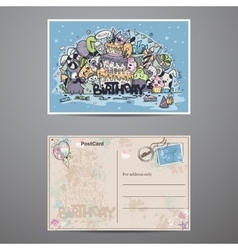 Set two sided cards for birthday party vector