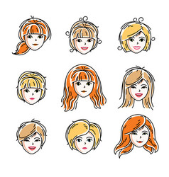 set women faces human heads different vector image