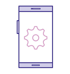 smartphone device with gear vector image