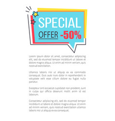 special offer promo sticker in square frame bubble vector image