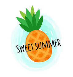 Sweet summer pineapple vitamin organic food vector
