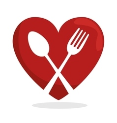 symbol healthy food heart spoon fork vector image