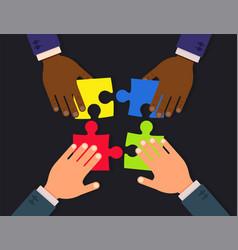 teamwork flat concept design businessmen hands vector image