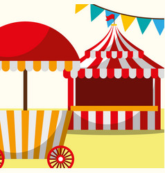 Tent and food booth carnival fun fair festival vector