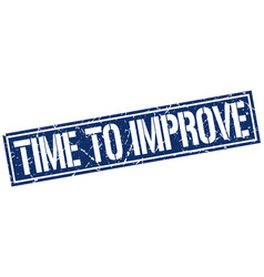 Time to improve square grunge stamp vector