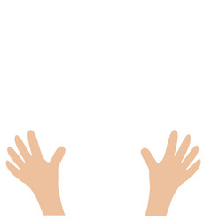 two hands palms arm with fingers close up body vector image