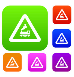 Warning sign railway crossing without barrier set vector