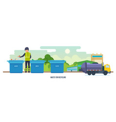 Waste for recycling cleaning city waste vector