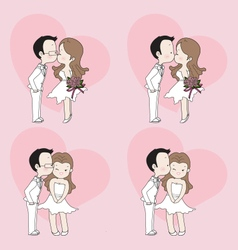 Wedding cartoon cute couple kissing vector image