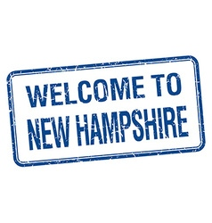 Welcome to New Hampshire blue grunge square stamp vector