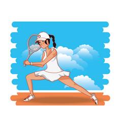 woman playing tennis character vector image