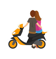 Young couple in love sitting on motorbike back vector