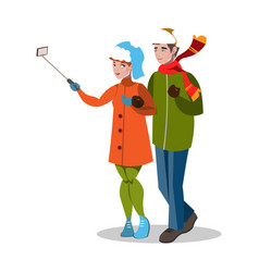 young couple taking a selfie vector image