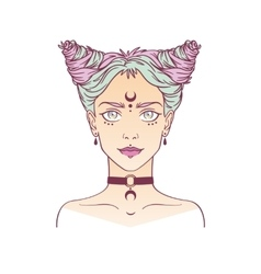 Young subcultural girl with choker and dark moon vector image