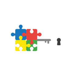flat design style concept of puzzle key and vector image