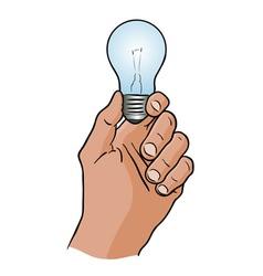 Light bulb in the hand vector