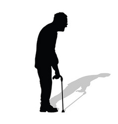 man old in black color on white background vector image vector image