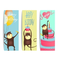 Monkey Fun Cards with Birthday Lettering vector image