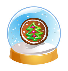 snow globe with christmas fir tree inside isolated vector image