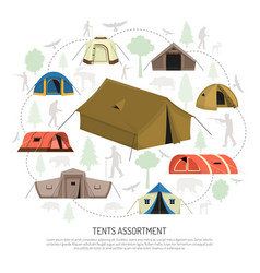camping tents selection composition advertisement vector image vector image