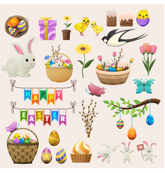 happy easter concept colourful poster of labels vector image vector image