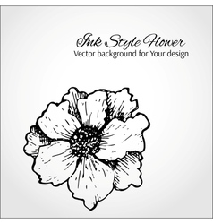 Black and white background Hand drawn flower vector image vector image