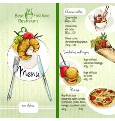 Fast food menu vector image vector image