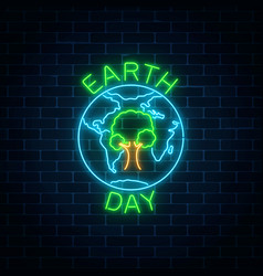 Glowing neon sign of world earth day with tree in vector