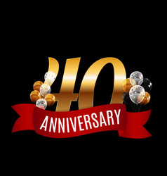 golden 40 years anniversary template with red vector image vector image