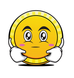 hugging face coin cartoon character vector image vector image