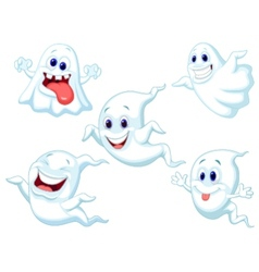 Cute ghost cartoon collection set vector image
