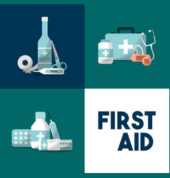 first aid medical equipment emergency kit vector image