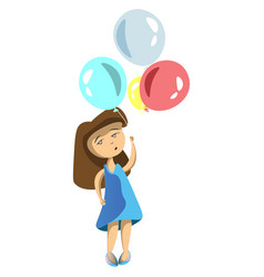 girl with ballons vector image