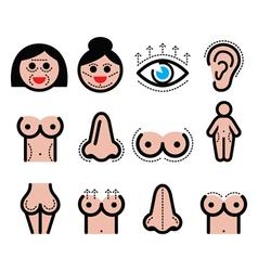 Plastic surgery beauty icons set vector image
