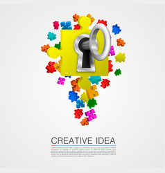 puzzle idea with key vector image