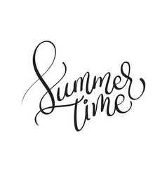 Summer time text on white background vector