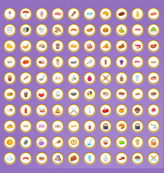 100 food and cooking icons set in cartoon style vector image