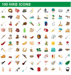 100 hike icons set cartoon style vector image
