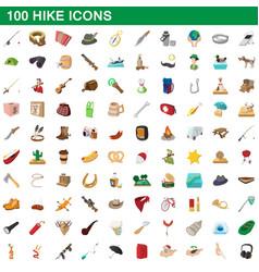 100 hike icons set cartoon style vector