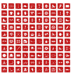 100 sport team icons set grunge red vector