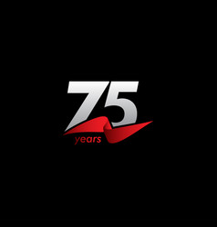 75 years anniversary celebration white black red vector