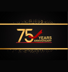75 years anniversary logotype with golden color vector