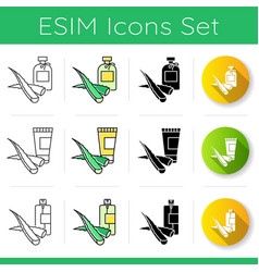 Aloe vera icons set natural skincare with vector