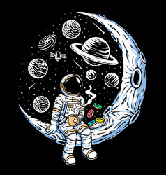 Astronauts drinking coffee and eating donuts vector