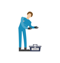 auto mechanic in uniform with tools icon vector image