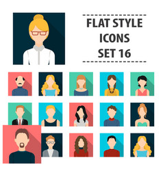 Avatar set icons in flat style big collection vector