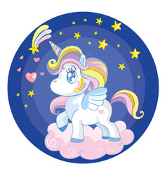 Baby unicorn character standing on cloud at night vector