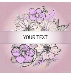 Background with vintage flowers vector image
