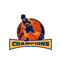 Basketball Player Dribbling Ball Champions Retro vector image